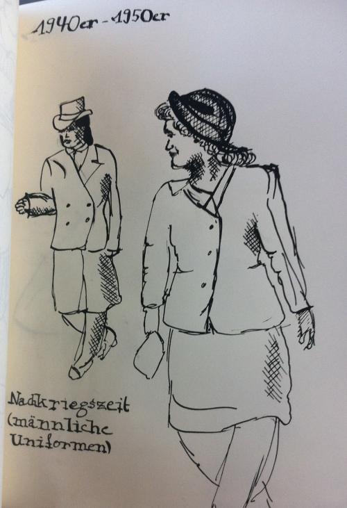 Kleider zur Zeit der 1920er Jahre (Tusche und Feder)