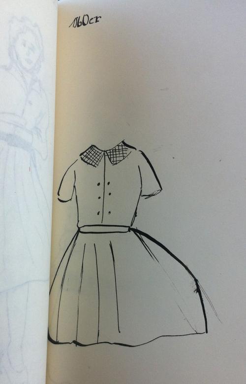 Kleid zur Zeit der 1960er Jahre (Tusche und Feder)