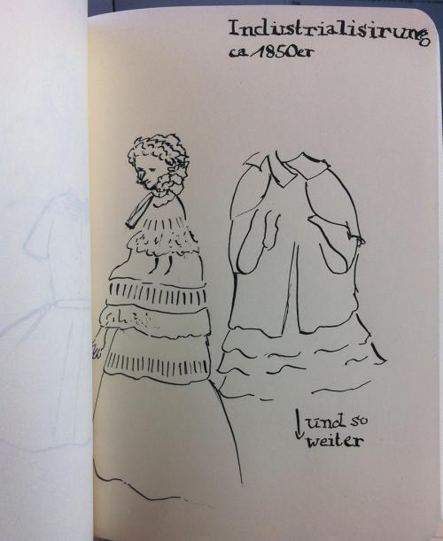Kleid zur Zeit der Industrialisierung (Tusche und Feder)